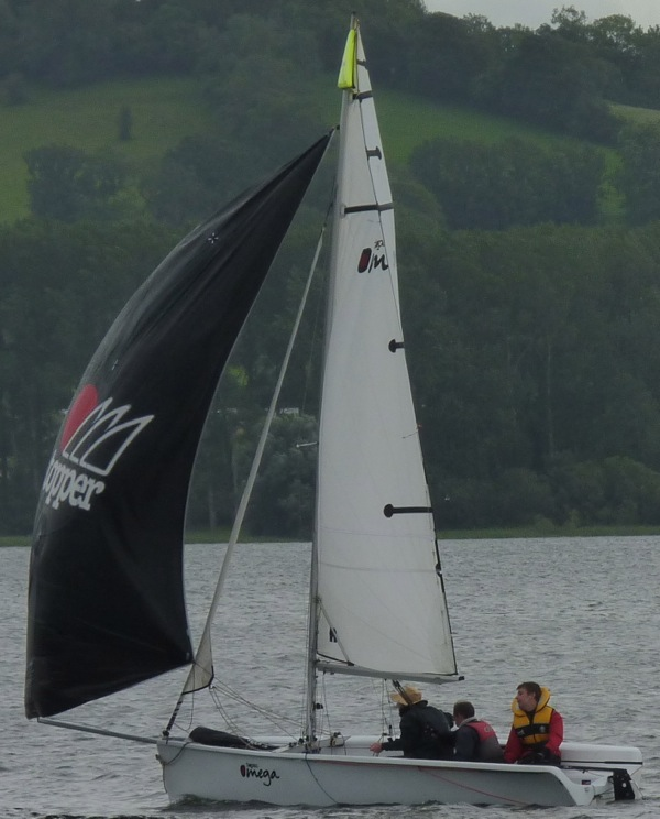 Picture of Topaz Omega sailing with the Jennaker up.