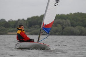 Picture of Steve (me) sailing down at Chew Valley Lake, in my Topper, May 2011