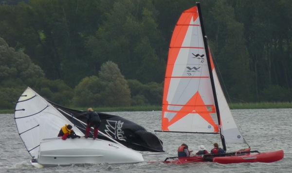 Picture of my Topaz Omega capsizing with the Jennaker up.